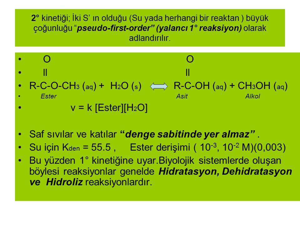 R-C-O-CH3 (aq) + H2O (s) R-C-OH (aq) + CH3OH (aq) v = k [Ester][H2O]